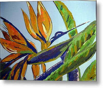 Paradise Bird Flower Metal Print by Vicky Tarcau