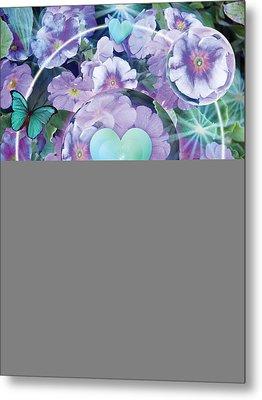 Paradise Garden Heart Metal Print by Alixandra Mullins