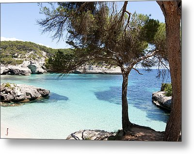 Paradise In Minorca Is Called Cala Mitjana Beach Where Sand Is Almost White And Sea Is A Deep Blue  Metal Print