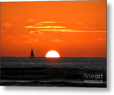 Paradise Sunset Sail Metal Print by Kristine Merc