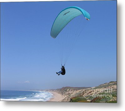 Paraglider Over Sand City Metal Print by James B Toy
