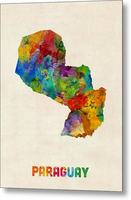 Paraguay Watercolor Map Metal Print by Michael Tompsett