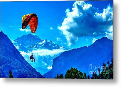 Metal Print featuring the photograph Parasailing Swiss Alps by Joe  Ng