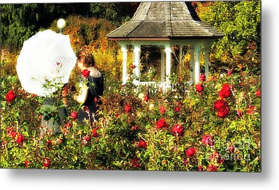 Parasol In Rose Garden Metal Print