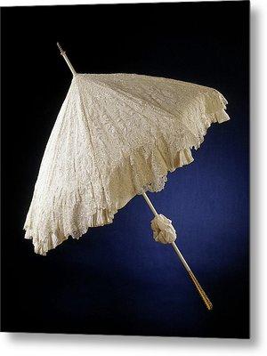 Parasol With Deck Of Needle Lace, Point De Gaze De Bruxelles Metal Print by Quint Lox