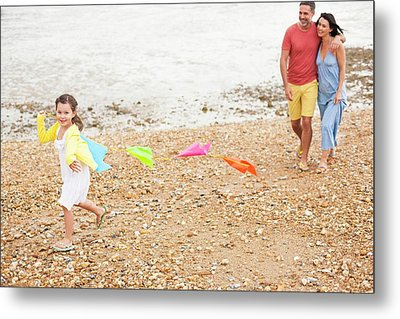 Parents On Beach With Daughter Metal Print