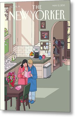 Parents Read Their Mothers' Day Cards Metal Print