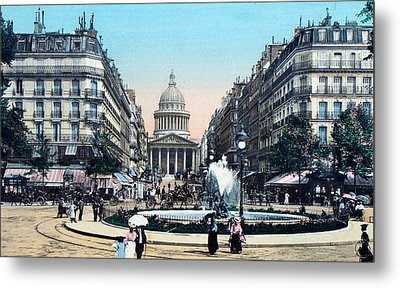 Paris 1910 Rue Soufflot And Pantheon Metal Print