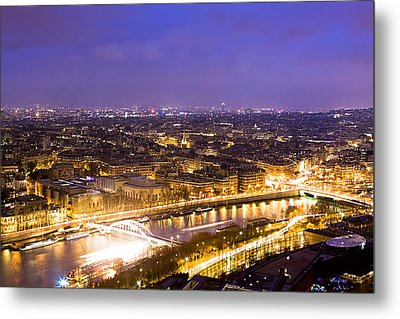 Paris And The River Seine Skyline View At Night Metal Print by Mark E Tisdale