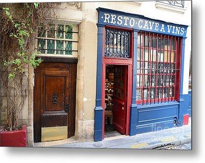 Paris Architecture Brown Door And Wine Shop - Paris Resto Cave A Vins Street Shoppe  Metal Print