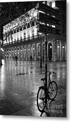 Paris Black And White Palais Royal Rainy Night - Paris Bicycle Street Photography Metal Print by Kathy Fornal