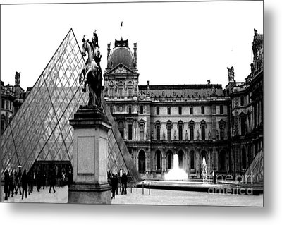 Paris Black And White Photography - Louvre Museum Pyramid Black White Architecture Landmark Metal Print by Kathy Fornal