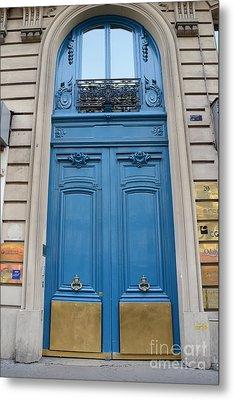 Paris Blue Doors - Paris Romantic Blue Doors - Paris Dreamy Blue Door Art - Parisian Blue Doors Art  Metal Print