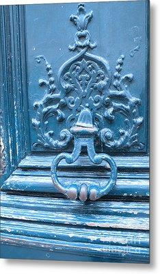 Paris Blue Vintage Door - Paris Antique Vintage Blue Door Knocker - Paris Door Architecture Metal Print