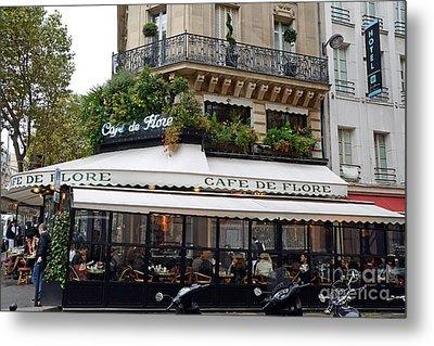 Paris Cafe De Flore - Paris Fine Art Cafe De Flore - Paris Famous Cafes And Street Cafe Scenes Metal Print