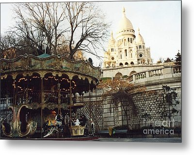 Paris Carousel Merry Go Round Montmartre - Carousel At Sacre Coeur Cathedral  Metal Print by Kathy Fornal