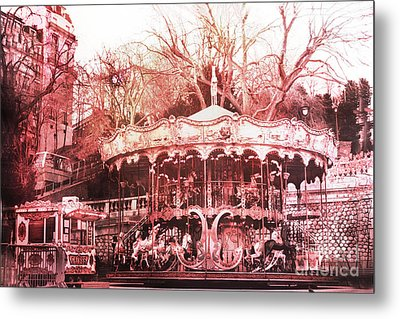 Paris Carousel Montmartre District Red Carousel Metal Print by Kathy Fornal