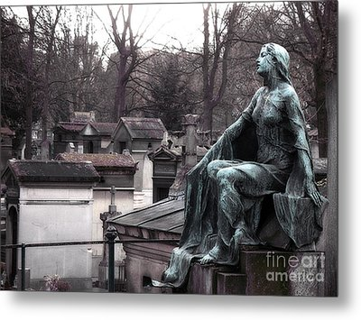 Paris Cemetery Art Sculptures - Female Grave Mourning Figure Monument - Montmartre Cemetery Metal Print by Kathy Fornal