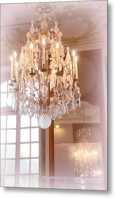 Paris Chandeliers - Dreamy Pastel Pink Rodin Museum Crystal Chandelier With Reflection In Mirror Metal Print by Kathy Fornal