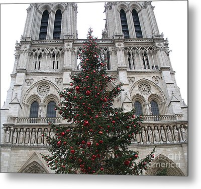 Paris Christmas Photography - Notre Dame Cathedral Christmas Tree - Paris At Christmas Metal Print by Kathy Fornal