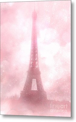 Paris Shabby Chic Pink Dreamy Romantic Eiffel Tower Fantasy Pink Clouds Fine Art Metal Print by Kathy Fornal