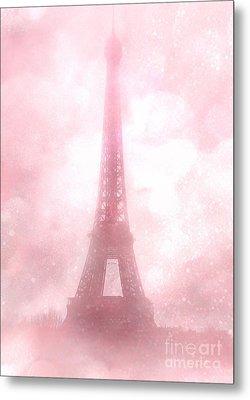 Paris Shabby Chic Pink Dreamy Romantic Eiffel Tower Fantasy Pink Clouds Fine Art Metal Print