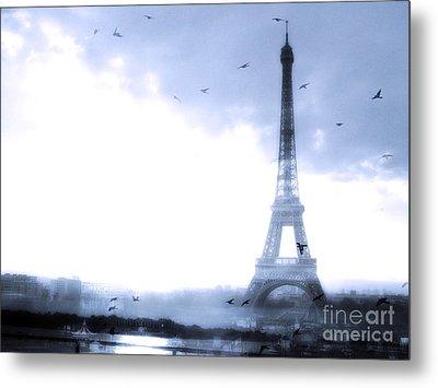 Paris Dreamy Blue Eiffel Tower With Birds Flying - Surreal Fantasy Eiffel Tower Pastel Blue Metal Print by Kathy Fornal
