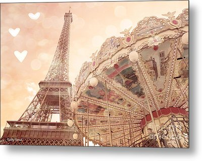 Paris Dreamy Eiffel Tower And Carousel With Hearts - Paris Sepia Eiffel Tower And Carousel Photo Metal Print by Kathy Fornal