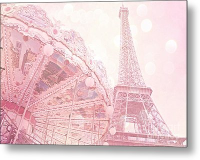 Paris Dreamy Pink Carousel And Eiffel Tower - Eiffel Tower Carousel - Paris Baby Girl Nursery Room Metal Print by Kathy Fornal