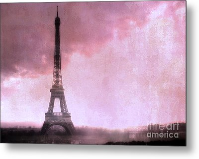 Paris Dreamy Pink Eiffel Tower Abstract Art - Romantic Eiffel Tower With Pink Clouds Metal Print by Kathy Fornal