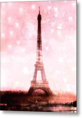 Paris Dreamy Pink Eiffel Tower With Hearts And Stars - Paris Pink Eiffel Tower Romantic Pink Art Metal Print by Kathy Fornal