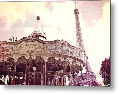 Paris Dreamy Pink Yellow Carousel Eiffel Tower Champs Des Mars - Paris Carrousel De Paris  Metal Print by Kathy Fornal