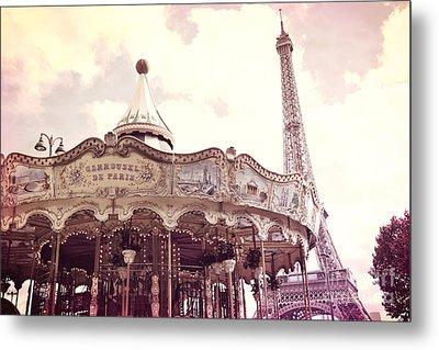 Paris Dreamy Pink Yellow Carousel Eiffel Tower Champs Des Mars - Paris Carrousel De Paris  Metal Print