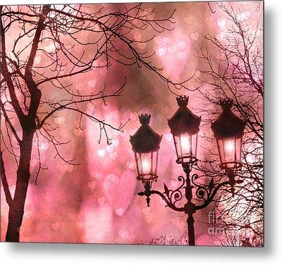 Paris Dreamy Romantic Pink Black Street Lamps - Paris Fantasy Pink Night Lanterns Metal Print by Kathy Fornal