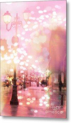 Paris Dreamy Holiday Street Lanterns Lamps - Paris Christmas Holiday Street Lanterns Lights Bokeh Metal Print by Kathy Fornal