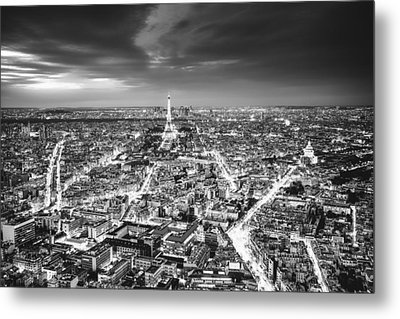 Paris - Eiffel Tower And City At Night Metal Print by Vivienne Gucwa