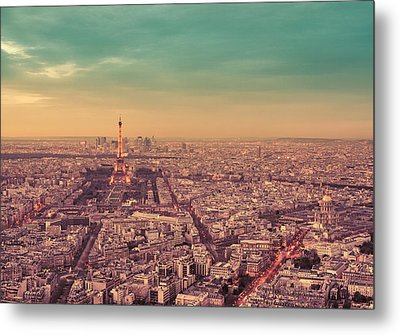 Paris - Eiffel Tower And Cityscape At Sunset Metal Print by Vivienne Gucwa