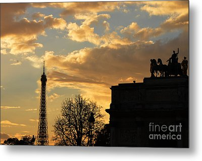 Paris Eiffel Tower Autumn Fall Sunset Clouds Cityscape - Eiffel Tower Autumn Sunset Architecture Metal Print by Kathy Fornal