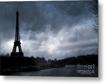 Paris Eiffel Tower Blue Starlit Night Sky Scene Metal Print by Kathy Fornal