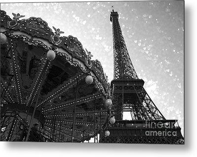 Paris Eiffel Tower Carousel Black White Surreal Photo - Eiffel Tower Black White Stars And Hearts Metal Print by Kathy Fornal
