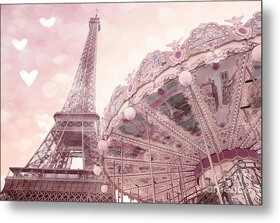 Paris Eiffel Tower Carousel Merry Go Round With Hearts - Eiffel Tower Carousel Baby Girl Nursery Art Metal Print by Kathy Fornal