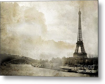 Paris Eiffel Tower Dreamy Winter White Textured Watercolor Painted Landscape - Paris Winter White  Metal Print by Kathy Fornal