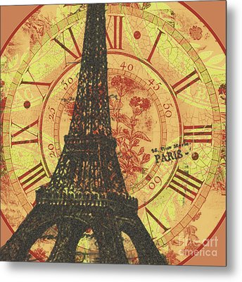 Paris Eiffel Tower Mixed Clock Wall Metal Print