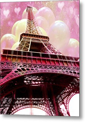 Paris Eiffel Tower Pink And Yellow With Hearts And Balloons - Paris Eiffel Tower Kid's Room Art  Metal Print by Kathy Fornal