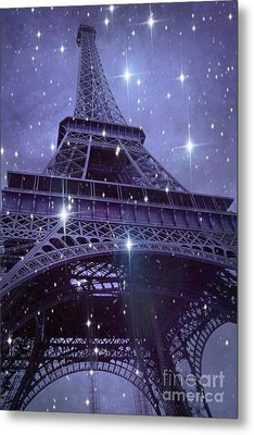 Paris Eiffel Tower Starry Night Photos - Eiffel Tower With Stars Celestial Fantasy Sparkling Lights  Metal Print by Kathy Fornal