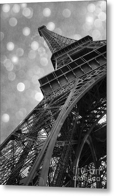Paris Eiffel Tower Surreal Black And White Photography - Eiffel Tower Abstract Architecture Metal Print by Kathy Fornal