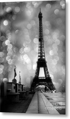 Paris Eiffel Tower Surreal Black And White Photography - Eiffel Tower Bokeh Surreal Fantasy Night  Metal Print by Kathy Fornal