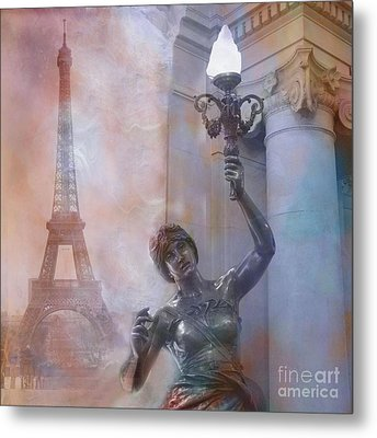 Paris Eiffel Tower Surreal Fantasy Montage Metal Print