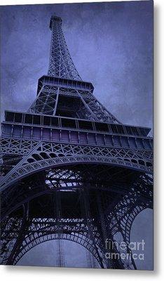 Paris Eiffel Tower Surreal Lavender Purple Blue Photos - Eiffel Tower Architecture  Metal Print by Kathy Fornal