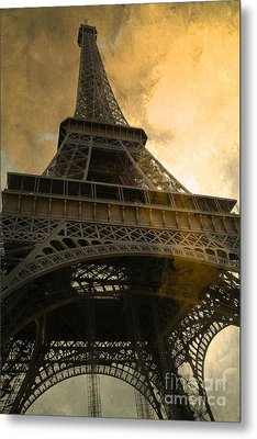 Paris Eiffel Tower Surreal Looking Up From Champs Des Mars - Surreal Eiffel Tower Sunset Sepia Sky Metal Print by Kathy Fornal
